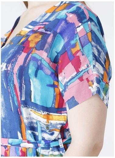 Selen Selen V Yaka Kemerli Emprime Elbise İndigo
